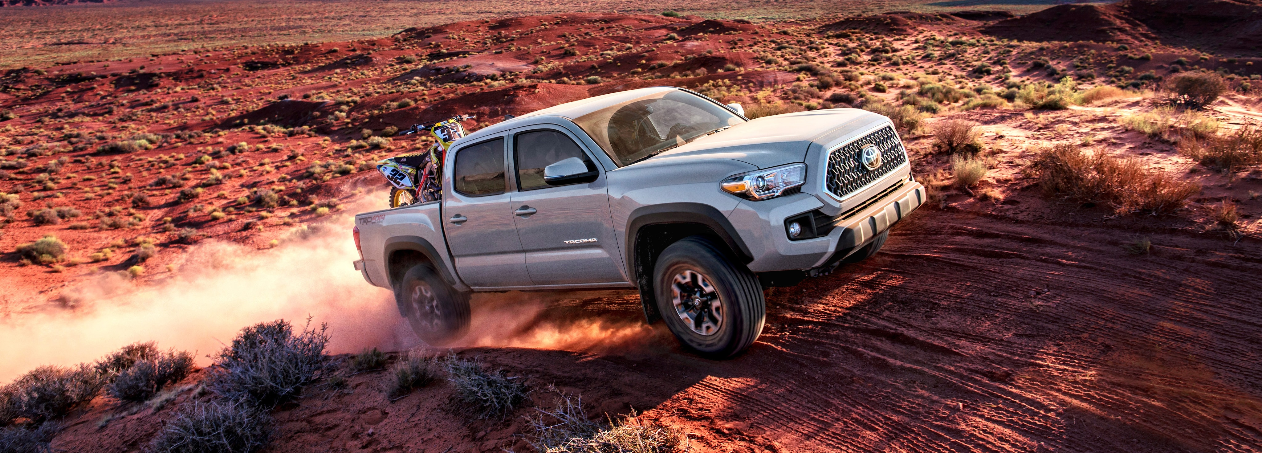 2018 Toyota Tacoma off-roading and hauling dirt bikes