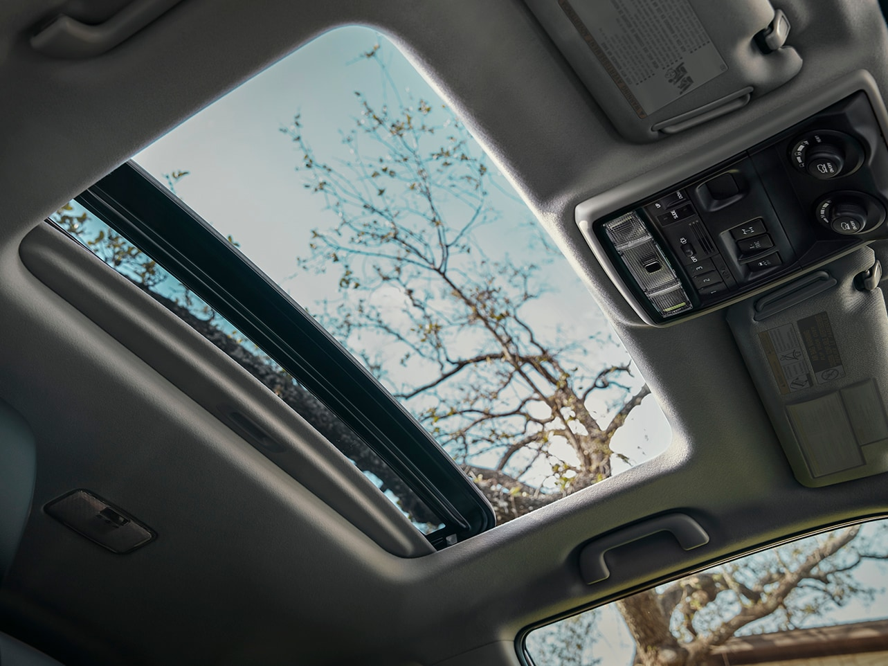 view of the sunroof inside the 4Runner