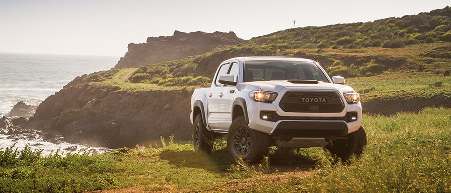 white tacoma parked at a scenic overlook