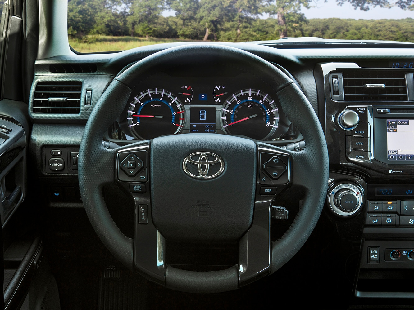 drivers cabin view of the 2019 4Runner