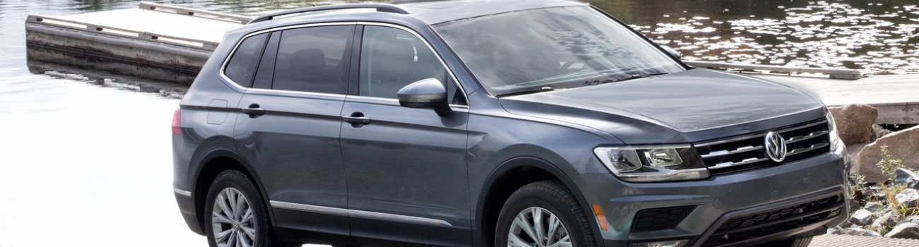 Close up view of the exterior on a gray 2018 VW Tiguan used SUV