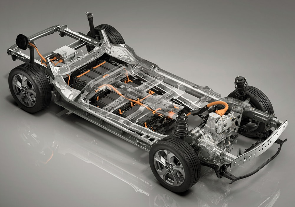 Close look at the EV platform motor battery powertrain on the Mazda MX-30