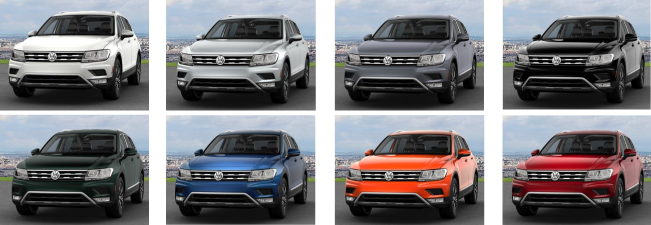 An image showing all 8 exterior colors for the used SUV 2018 Volkswagen Tiguan