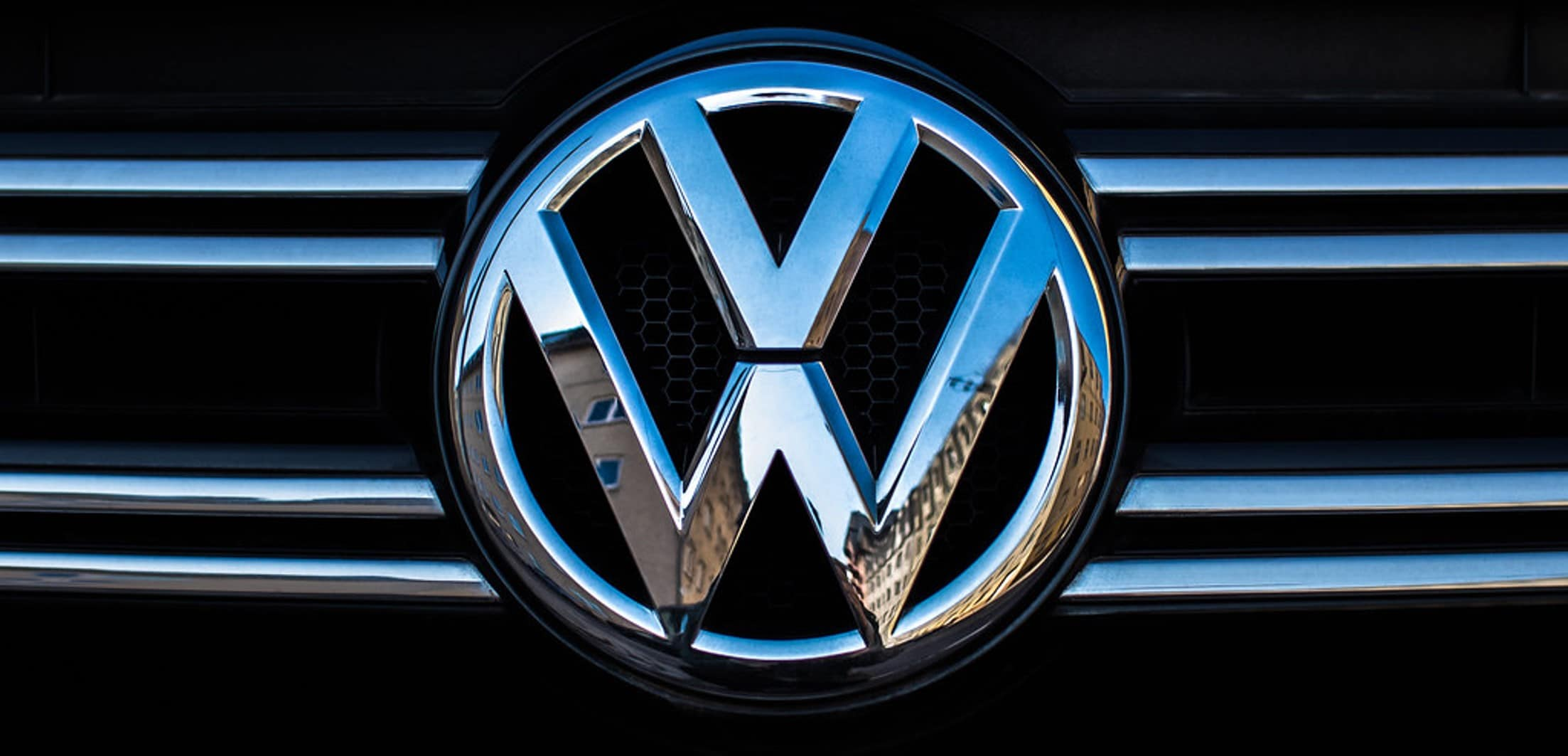 Volkswagen logo close up of VW grill