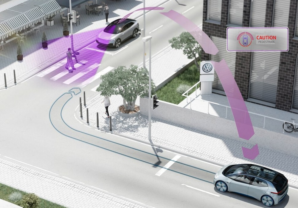 Illustrated diagram showing a unique pedestrian alert warning system inside the new 2021 Volkswagen ID.4 EV