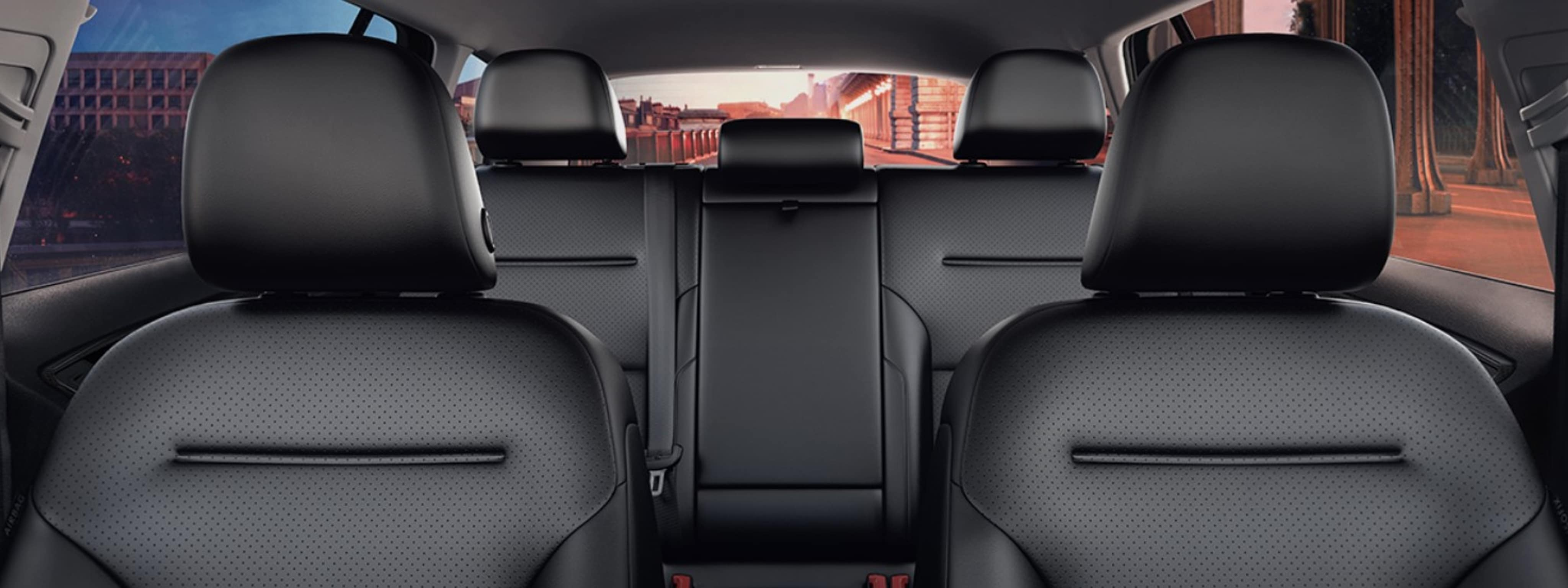 the black interior seating of a 2019 VW Alltrack