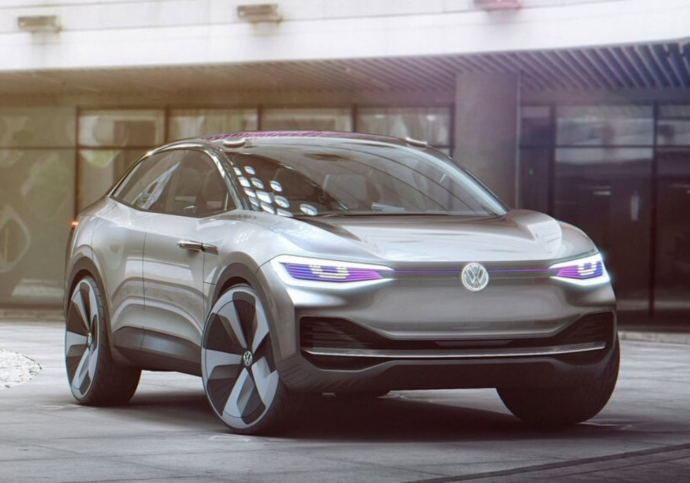 Volkswagen ID CROZZ EV concept SUV front exterior design that the 2021 VW ID.4 is based off of showing unique front fascia and LED headlights