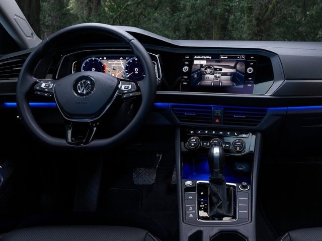 front interior cabin 2019 vw jetta blue light accent