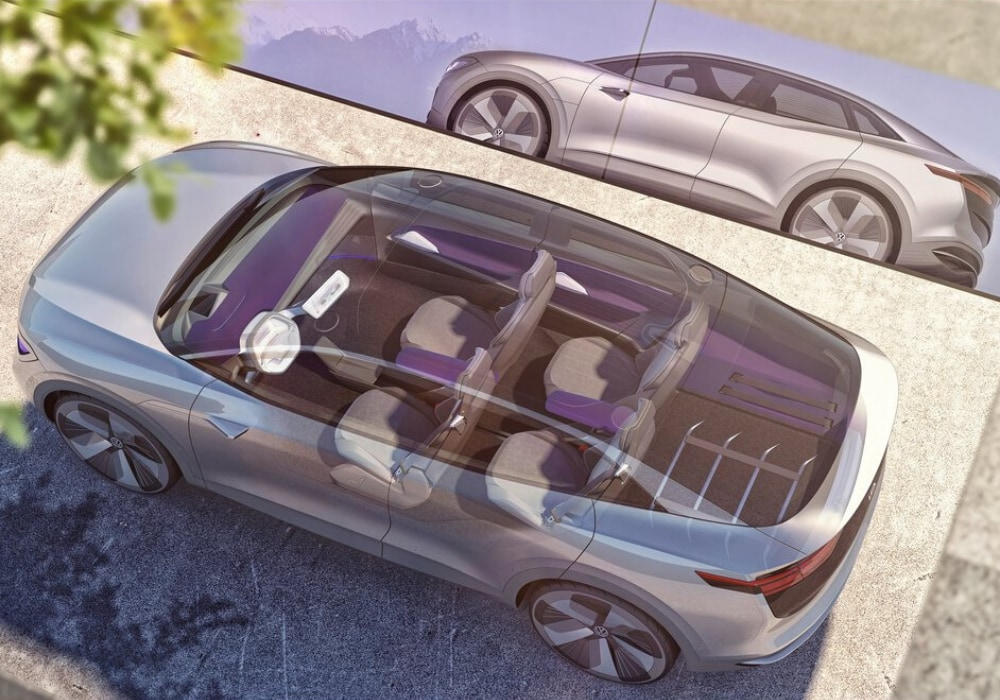 Aerial transparent view of the Volkswagen ID CROZZ concept SUV dimensions that the 2021 VW ID.4 is based on