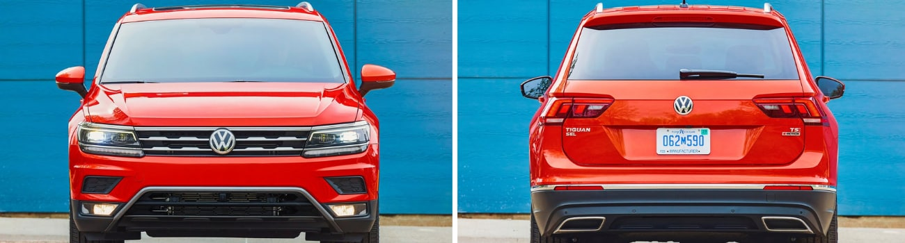 Side by side exterior comparison of the 2019 Volkswagen Tiguan looking at the front and rear