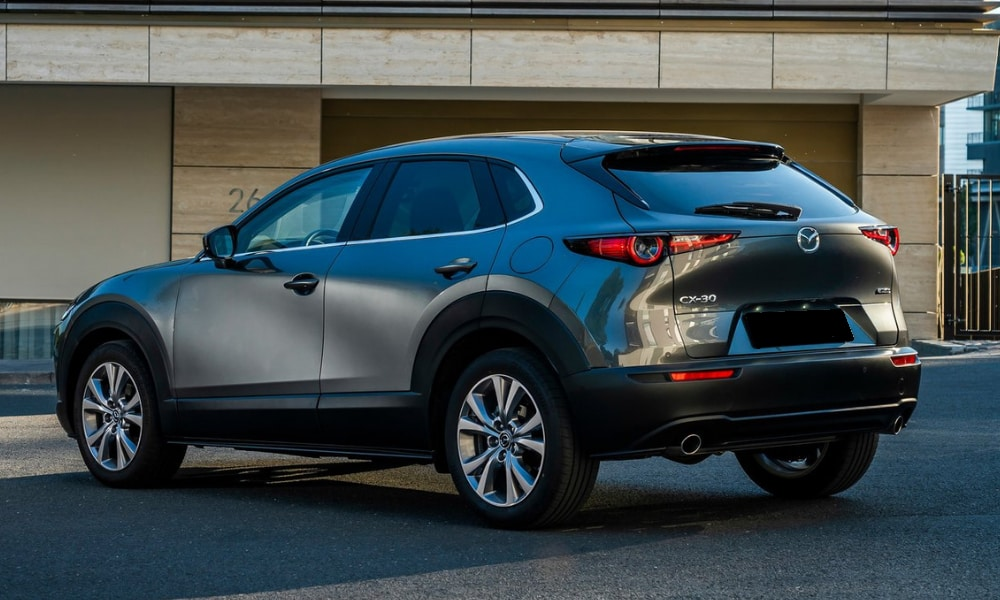 Rear exterior view of a 2020 Mazda CX-30 CUV in Colorado Springs