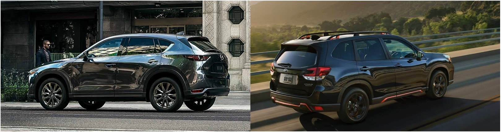 a 2020 Mazda CX-9 driving with a 2020 Subaru Forester