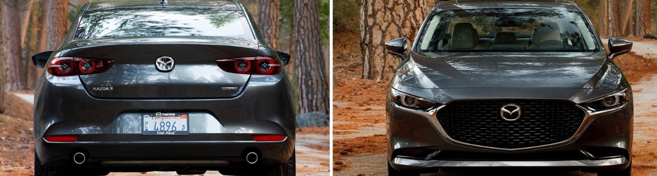 Exterior look at the front and back of the 2019 Mazda3 sedan side by side