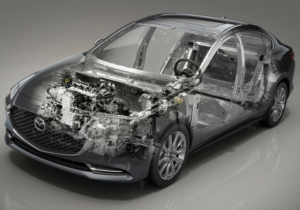 2020 Mazda3 sedan with transparent exterior giving you a peek at the engine and frame
