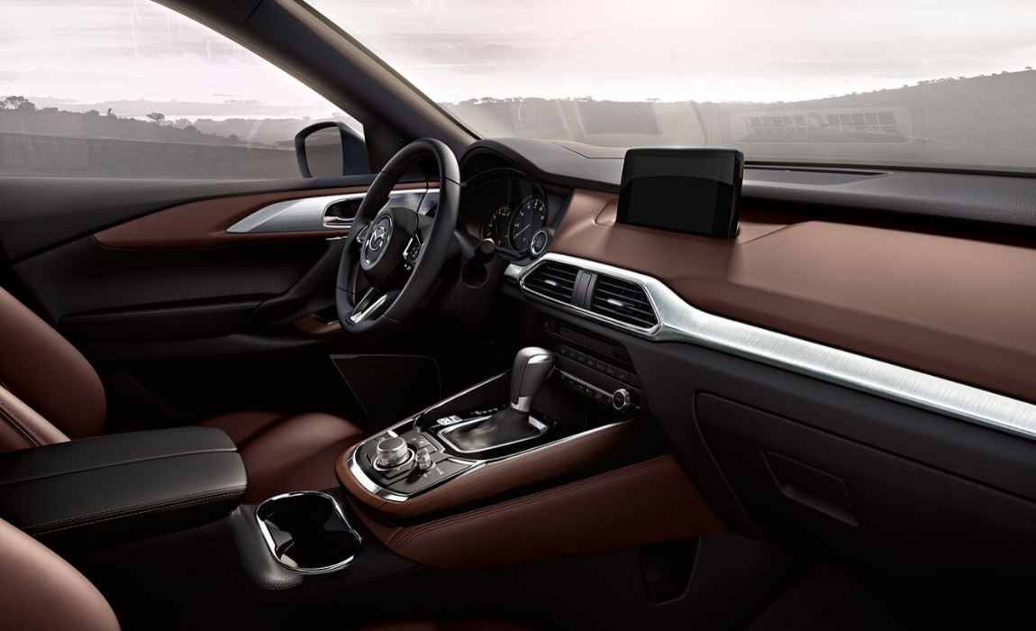 Elegant interior design of the new Mazda CX-9 showing the front cabin
