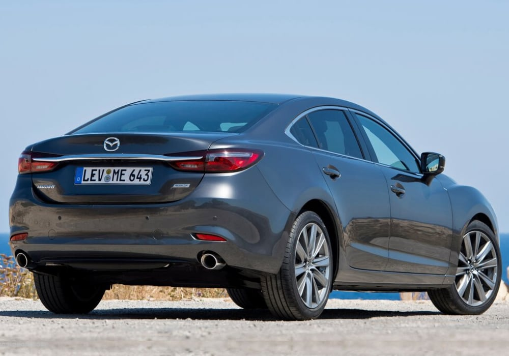 Rear exterior view of the 2020 Mazda6 showing its unique design and shape