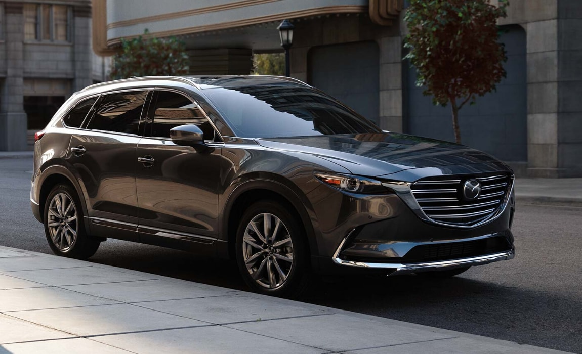 New Mazda CX-9 exterior view in metallic gray
