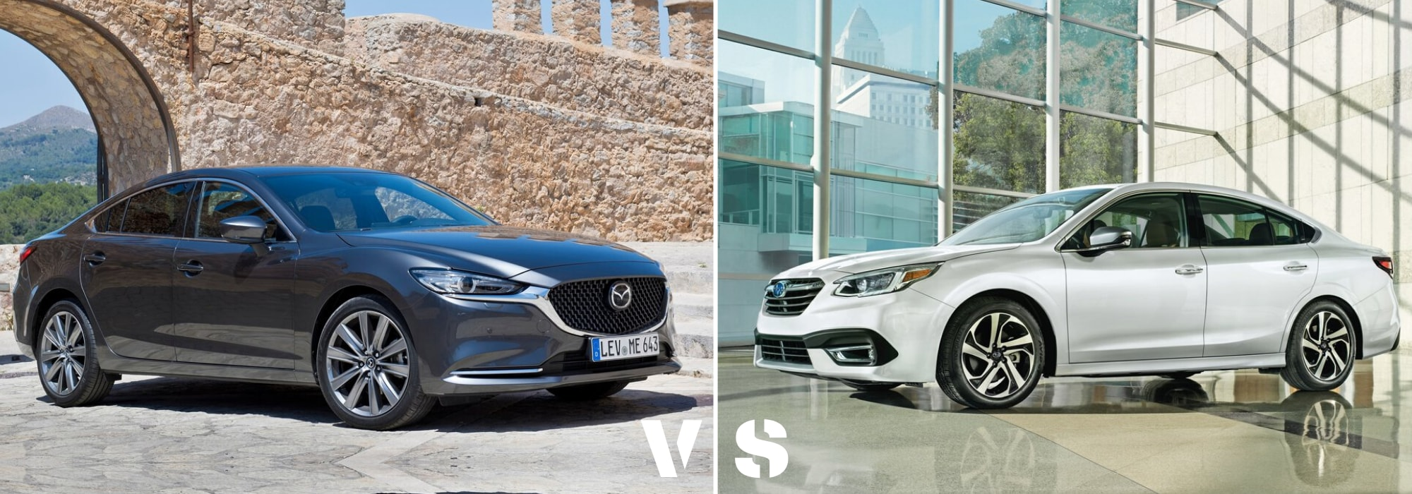 Side by side exterior comparison of the 2020 Mazda6 sedan and 2020 Subaru Legacy