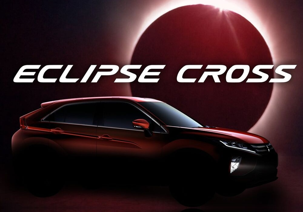 2020 Mitsubishi Eclipse Cross promotional poster solar eclipse backdrop