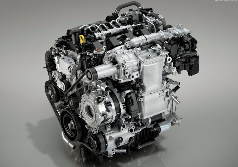 Close up view of the Mazda SKYACTIV-G engine