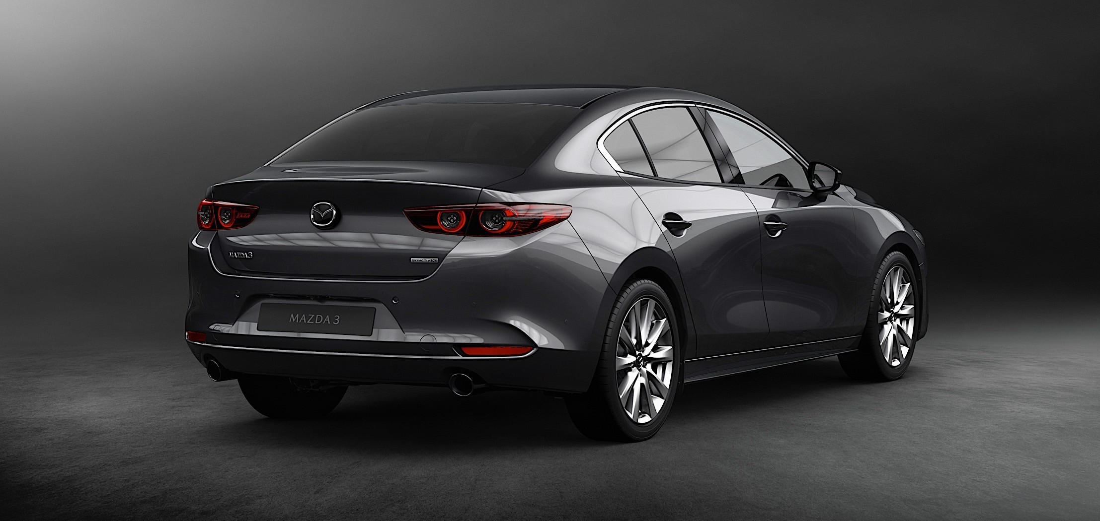 rear view of a grey Mazda3 SKYACTIV-G