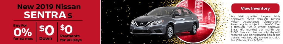 2019 Nissan Sentra - 0% for 60 Months