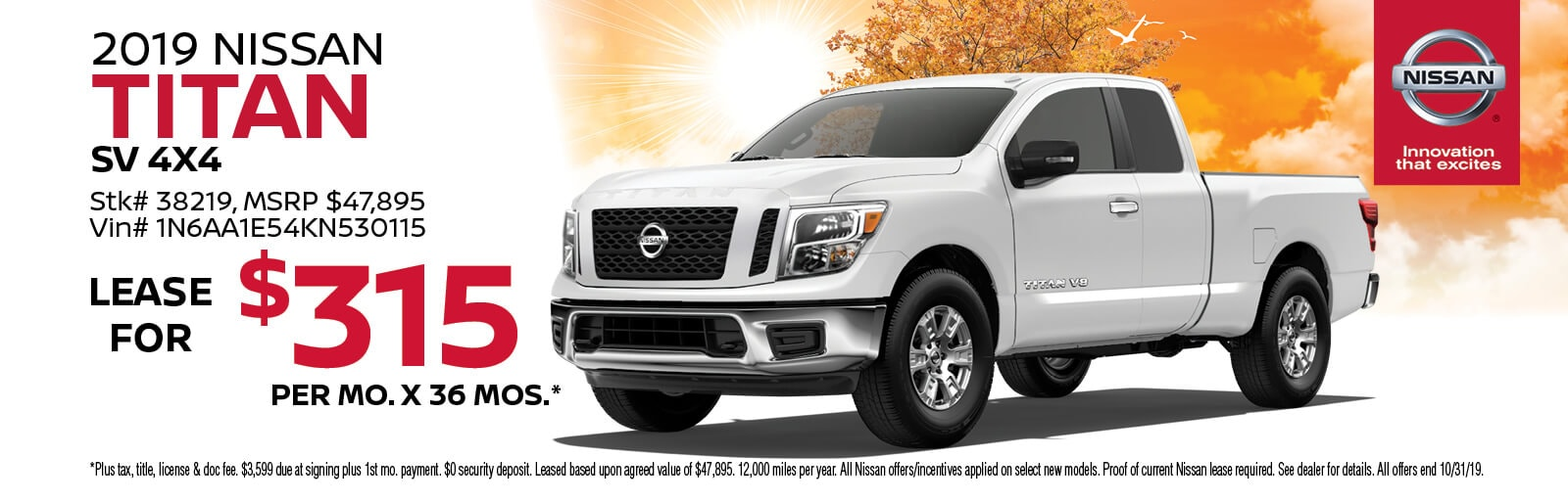 Lease a 2019 Nissan Titan SV for $315/mo. for 36 mos.