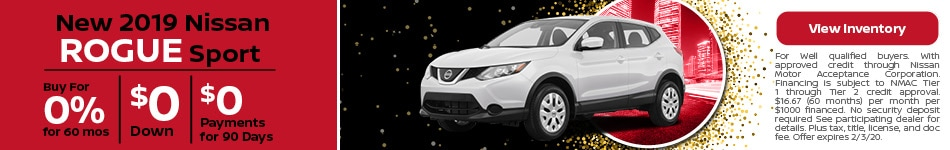2019 Nissan Rogue Sport - 0% for 60 Months