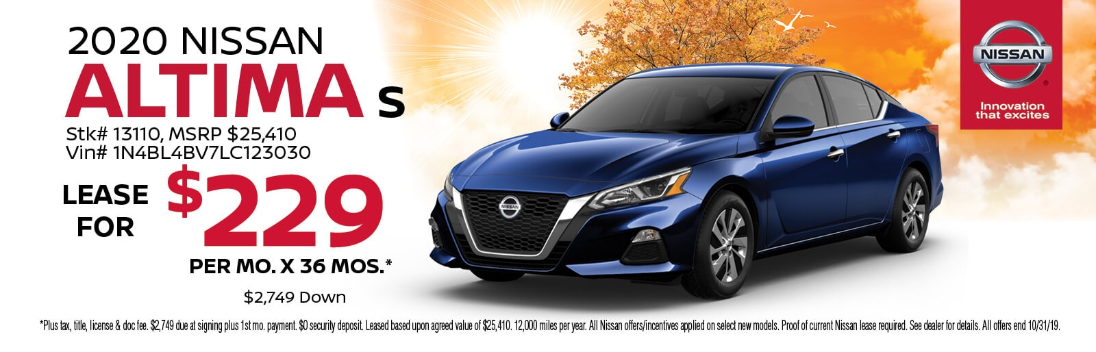 Lease a 2019 Nissan Altima S for $229/mo. for 36 mos.