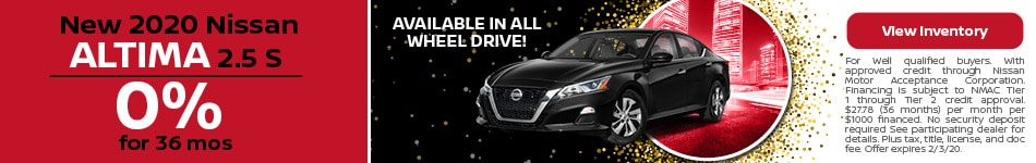 2020 Nissan Altima - 0% for 36 Months