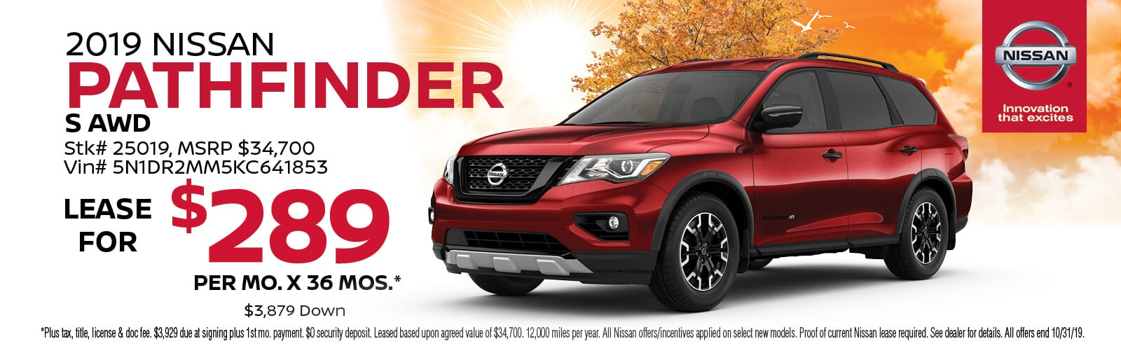 Lease a 2019 Nissan Pathfinder S for $289/mo. for 36 mos.