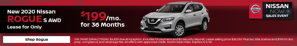 New 2020 Nissan Rogue S AWD | Lease