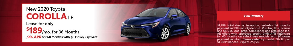 New 2020 Toyota Corolla LE | Lease