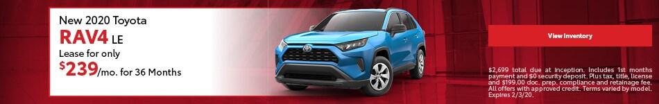 New 2020 Toyota RAV4 LE | Lease