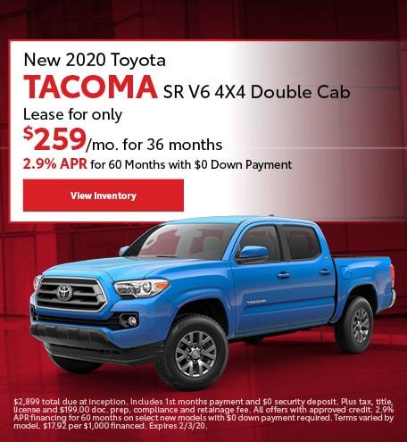 New 2020 Toyota Tacoma SR V6 4X4 Double Cab | Lease