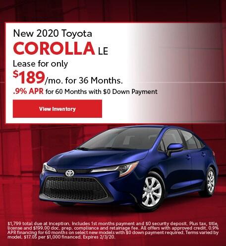 New 2020 Toyota Corolla LE | Lease