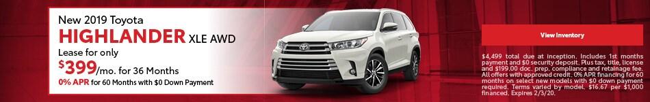 New 2019 Toyota Highlander XLE AWD | Lease