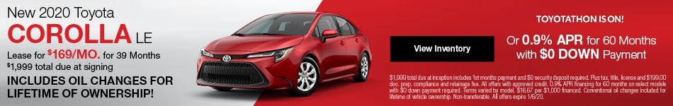 New 2020 Toyota Corolla Lease Offer