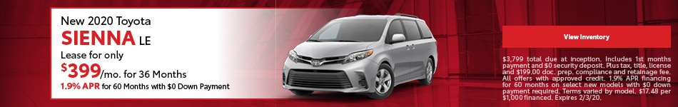 New 2020 Toyota Sienna LE | Lease