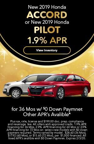 2019 Honda Accord & Pilot - 1.9% APR