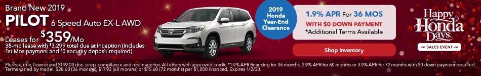2019 Honda Pilot Lease and APR