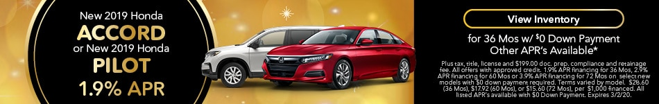 2019 Honda Accord & Pilot - 1.9% APR