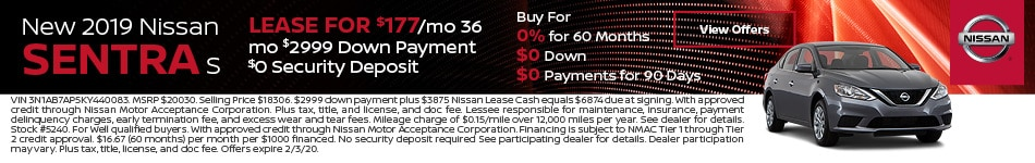 2019 Nissan Sentra - Lease
