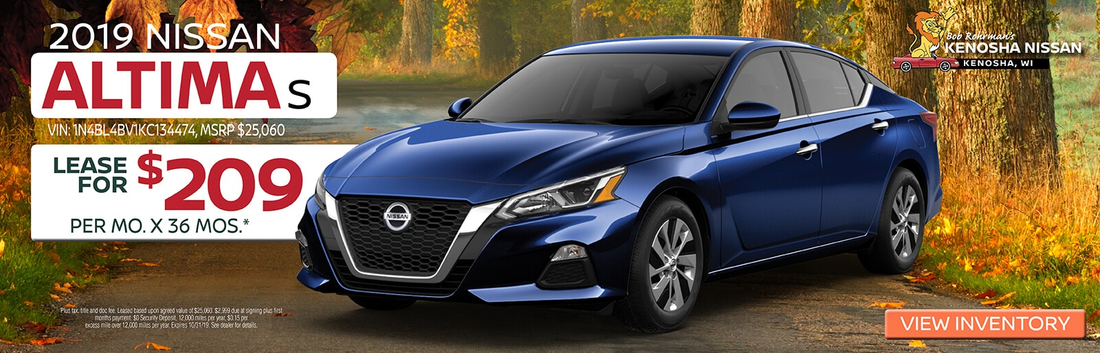 Lease a 2019 Nissan Altima S for $209/mo. for 36mos.