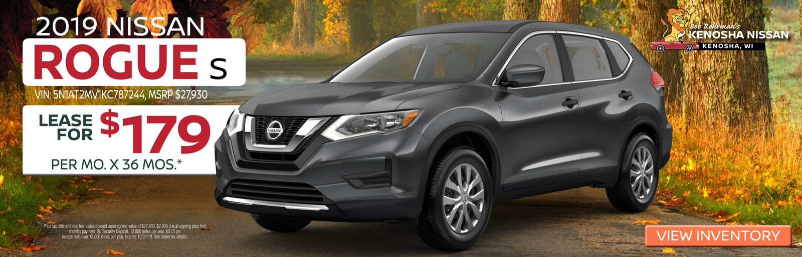 Lease a 2019 Nissan Rogue S for $179/mo. for 36mos.