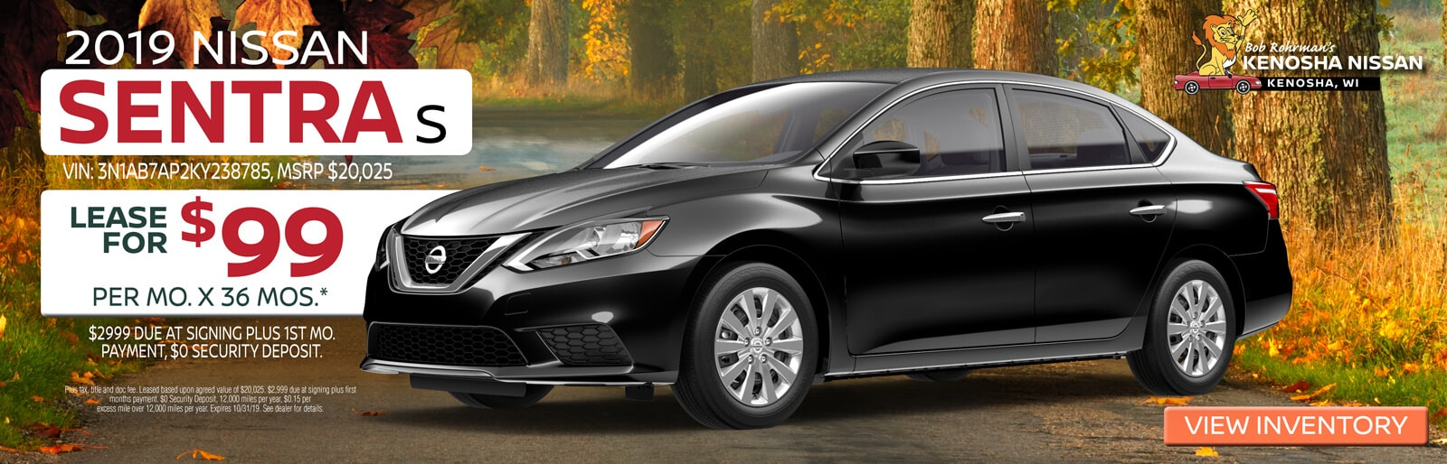 Lease a 2019 Nissan Sentra S for $99/mo. for 36mos.