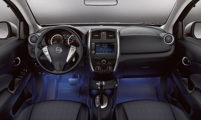 2020 Nissan Versa interior view of the front dashboard