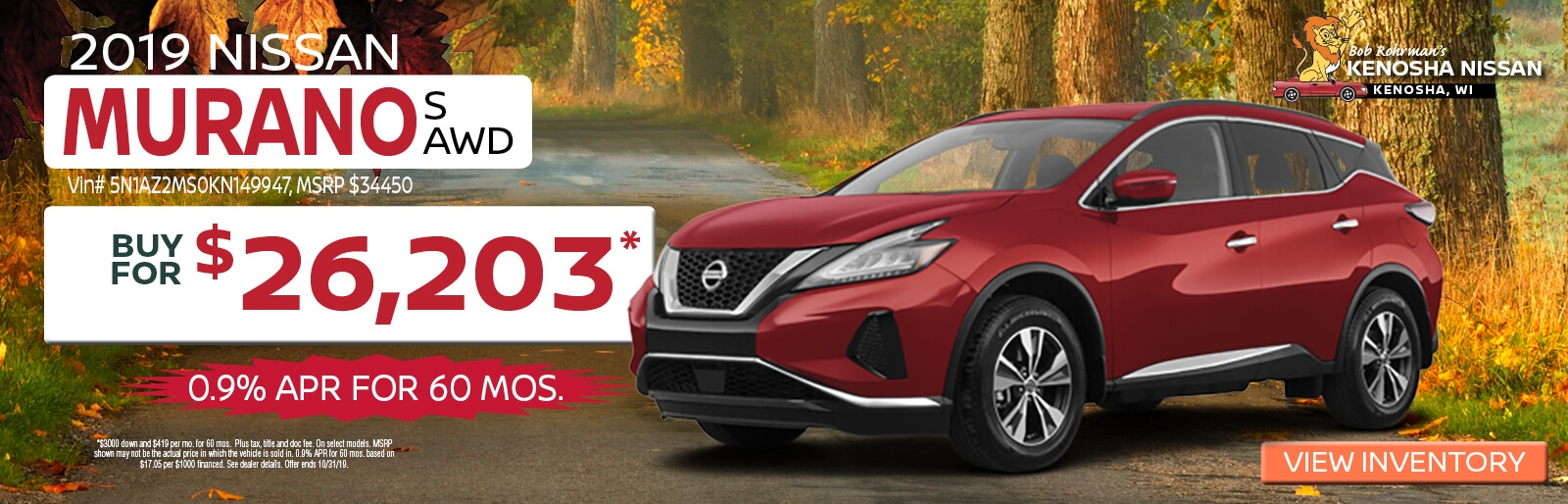 Buy a 2019 Nissan Murano S for $26,203