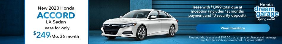 2020 Honda Accord LX Sedan - Lease
