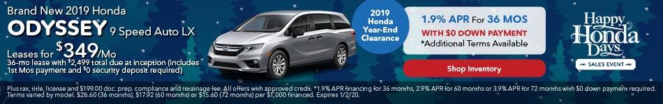 2019 Honda Odyssey 9 Speed Auto LX